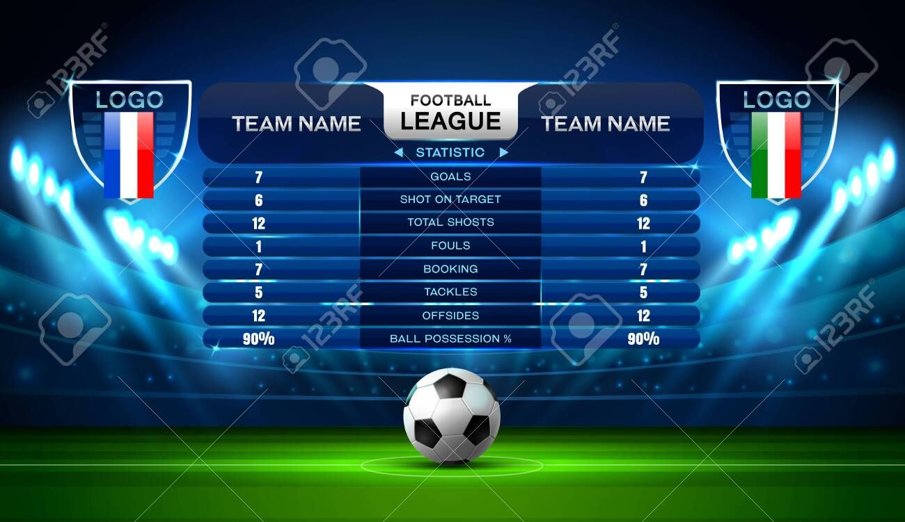 Soccer Football Stadium Spotlight And Scoreboard Background With Glitter Light Vector Ad Stadium Spotlight Soccer Football Stadiums Stadium Scoreboard
