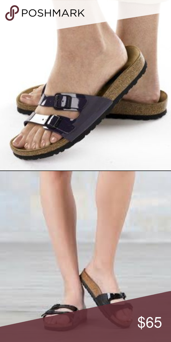 4d91ec37d429 Birkenstock Ibiza Slide Sandals Black Patent sz 39 Birkenstock Women s Ibiza  Patent leather sandals feature double