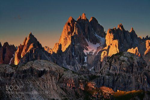 Glowing Rock Towers by der-rheinlaender  Trentino-Alto Adige/Südtirol Uwe Müller alpen alps berge cadini group der-rheinlaender dolomiten dol