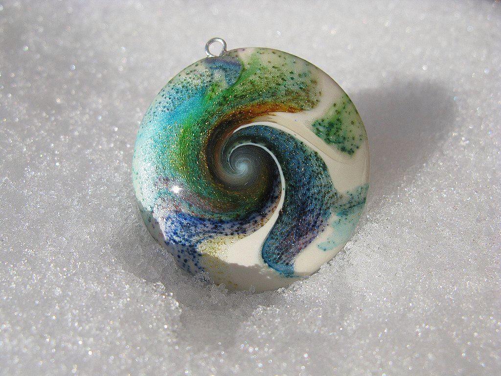 96270ecef blue polymer clay swirl pendant | PolymerClay aka play clay5 ...