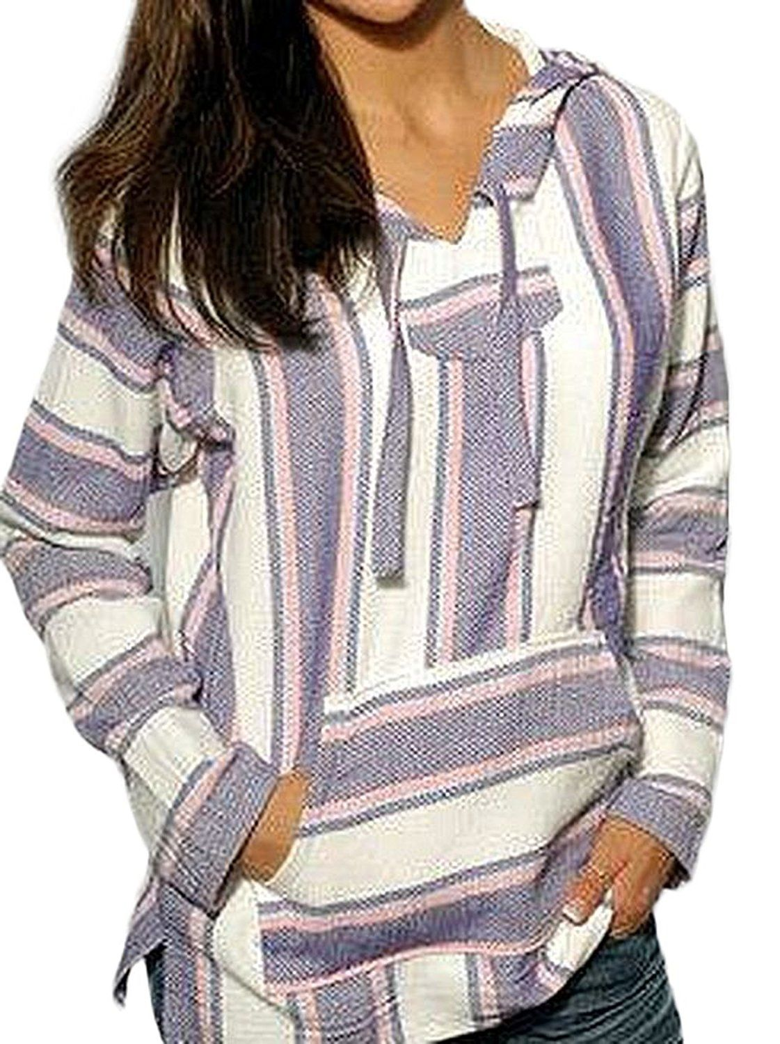 Mexican Baja Hoodie Sweater Jerga Pullover Lavender Pink White ...