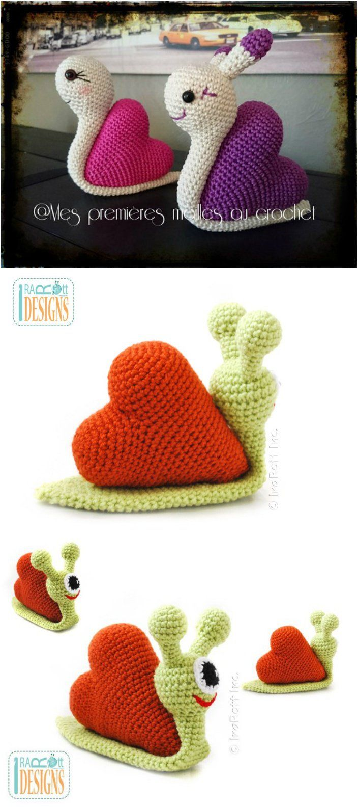 hight resolution of crochet love snail with pattern