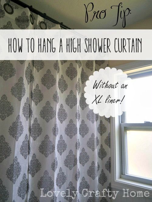 Hang A High Shower Curtain Without An Xl Liner Tall Shower Curtains Shower Curtain Lengths Diy Shower Curtain