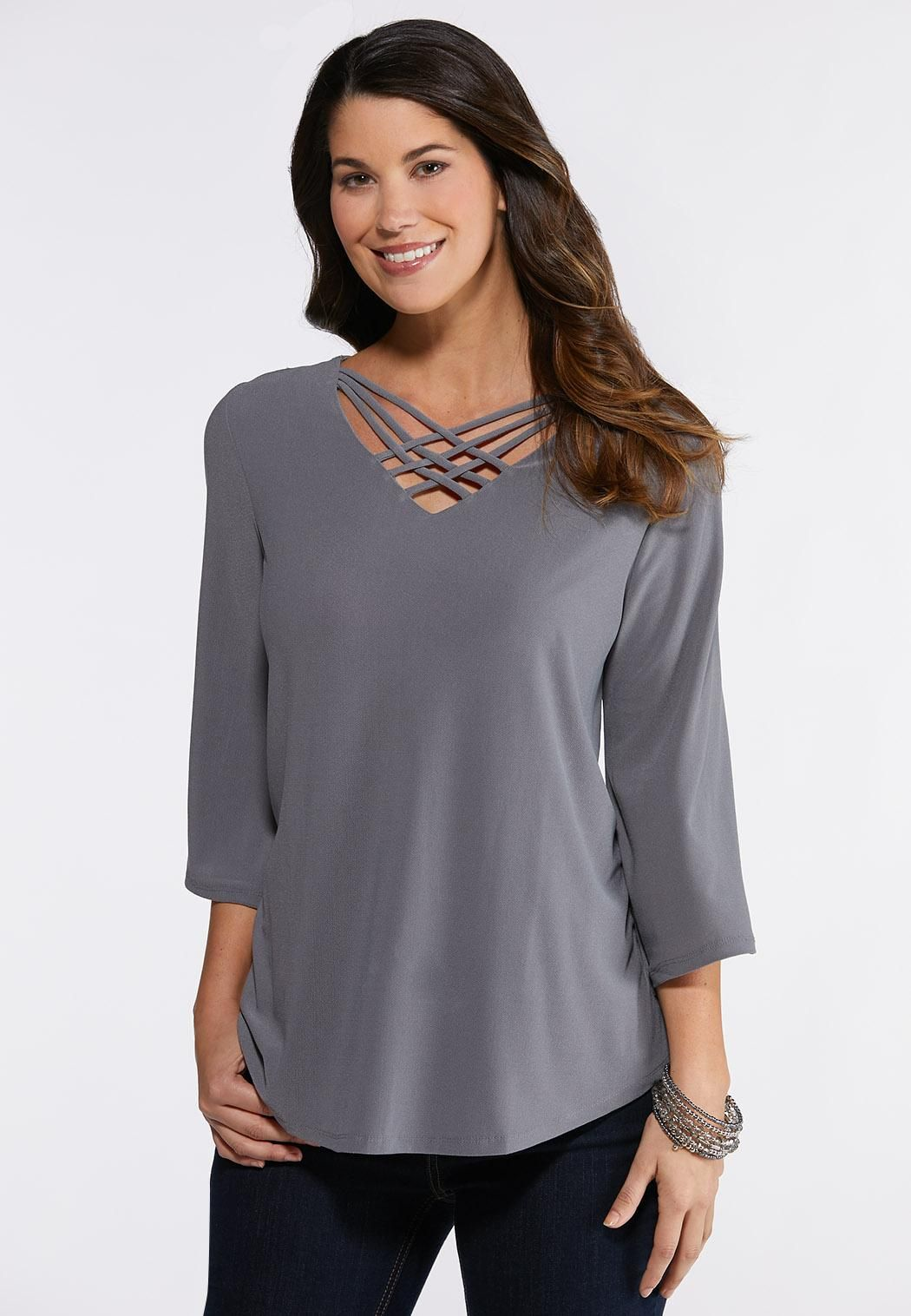87bfb201135 Lattice V- Neck Top Tees   Amp   Knit Tops Cato Fashions in 2019 ...