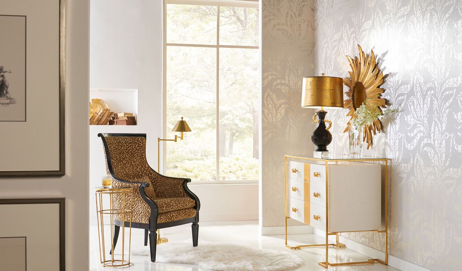 Lavish Interior Setting Featuring Elegant Furniture And Lighting With Gold  Accents; Home Lighting Ideas; Interior Design Inspiration;gold And Golden
