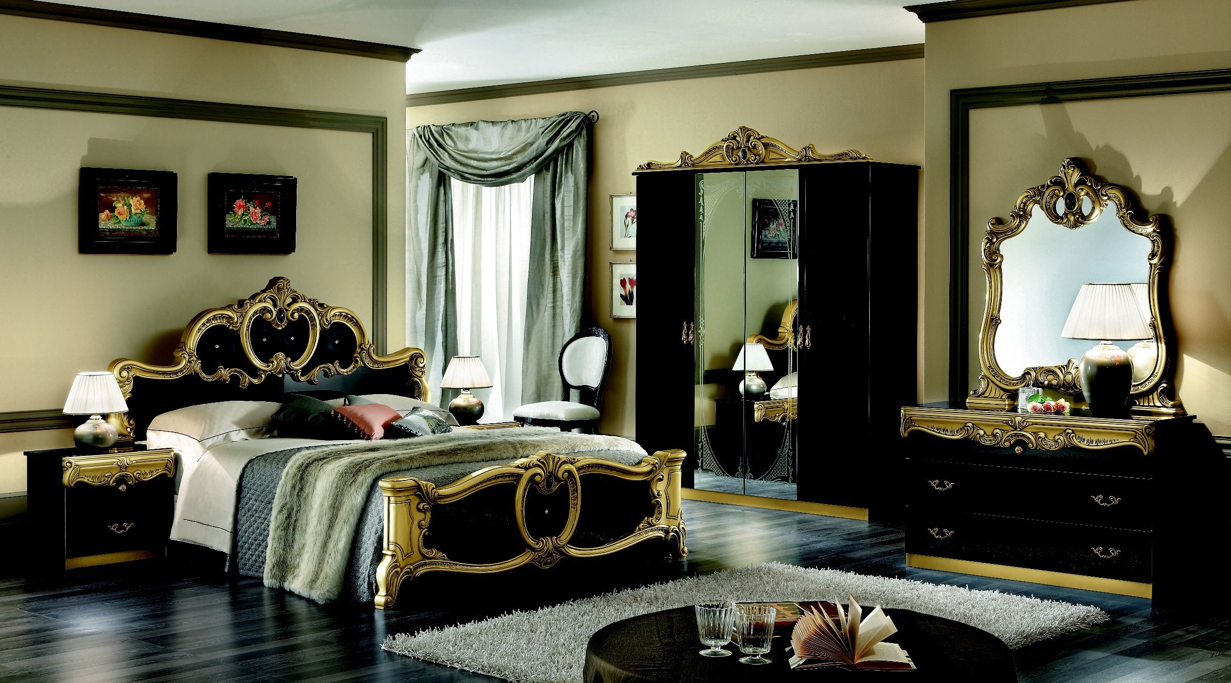 Bedroom Exciting Modern Bedroom Suite Showing Beautiful Dark Bed Gold Accent Carving Headboard Also Laminate Silver Bedroom Luxurious Bedrooms Italian Bedroom