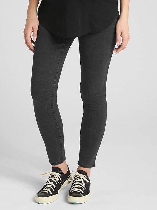 1b42d50868f88 Gap Womens Maternity Soft Wear Inset Panel True Skinny Jeans Black ...