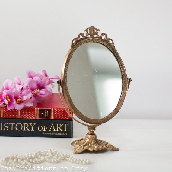 Victorian Table Mirror Makeup Mirror on Stand: Antique Brass Oval Mirror,  Vanity Dressing Mirror