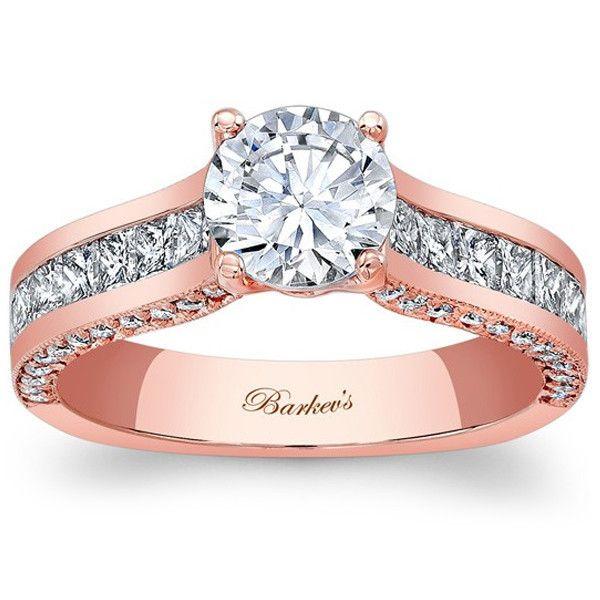 Barkev\'s 14K Rose Gold Princess Cut Diamond Channel Set Engagement Ring  Featuring 0.99 Carats Princess Cut