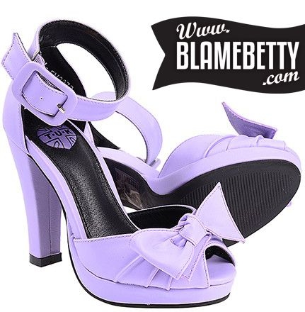 These amazing violet peep toe pumps pair beautifully with our spring florals! #blamebetty #pinup #retro #vintage