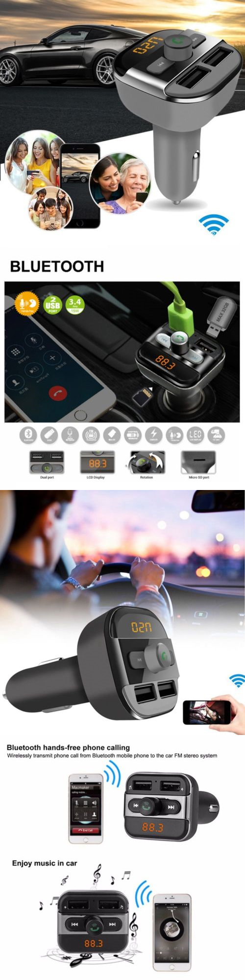 Fm Transmitters New Bluetooth Car Kit Wireless Transmitter Dual Super Simple Usb Charger Audio Mp3 Player