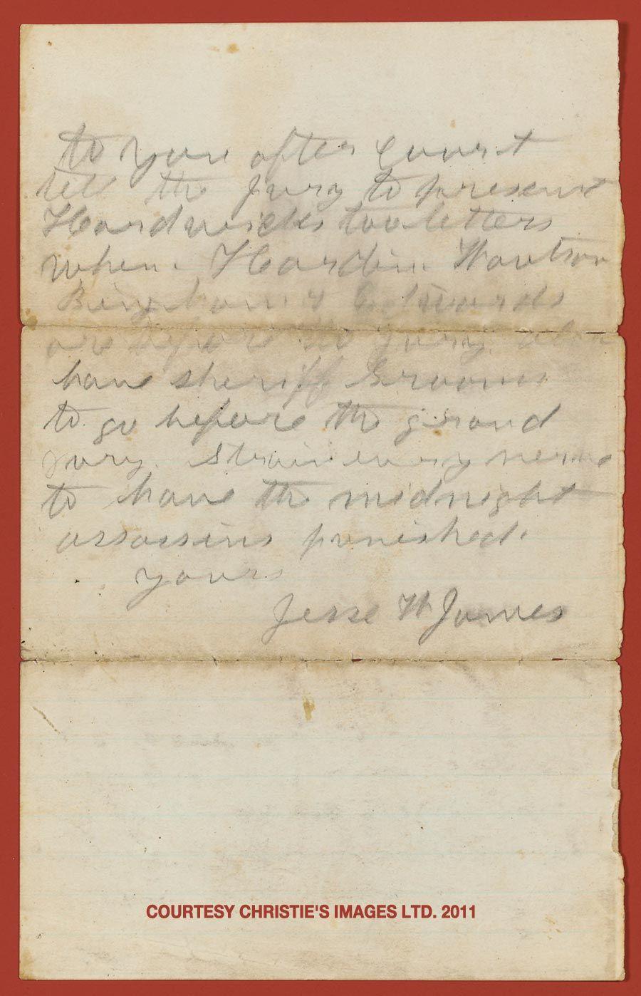 Jessie James signed letter