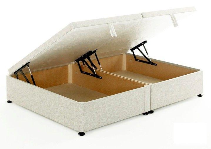 Regent 4ft Small Double Ottoman Storage Divan Bed Base - White Cotton - Regent 4ft Small Double Ottoman Storage Divan Bed Base - White