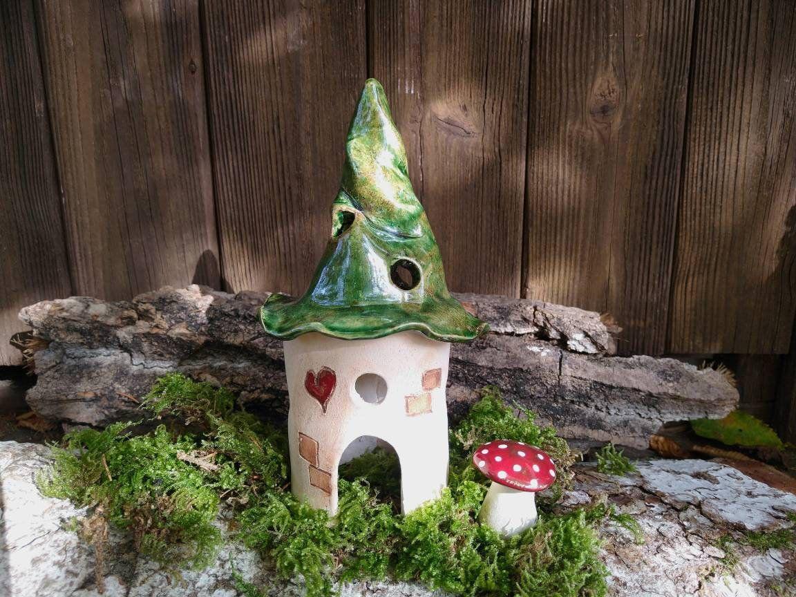 Keramik Windlicht, Lichterhaus , Wichtelhaus getöpfert