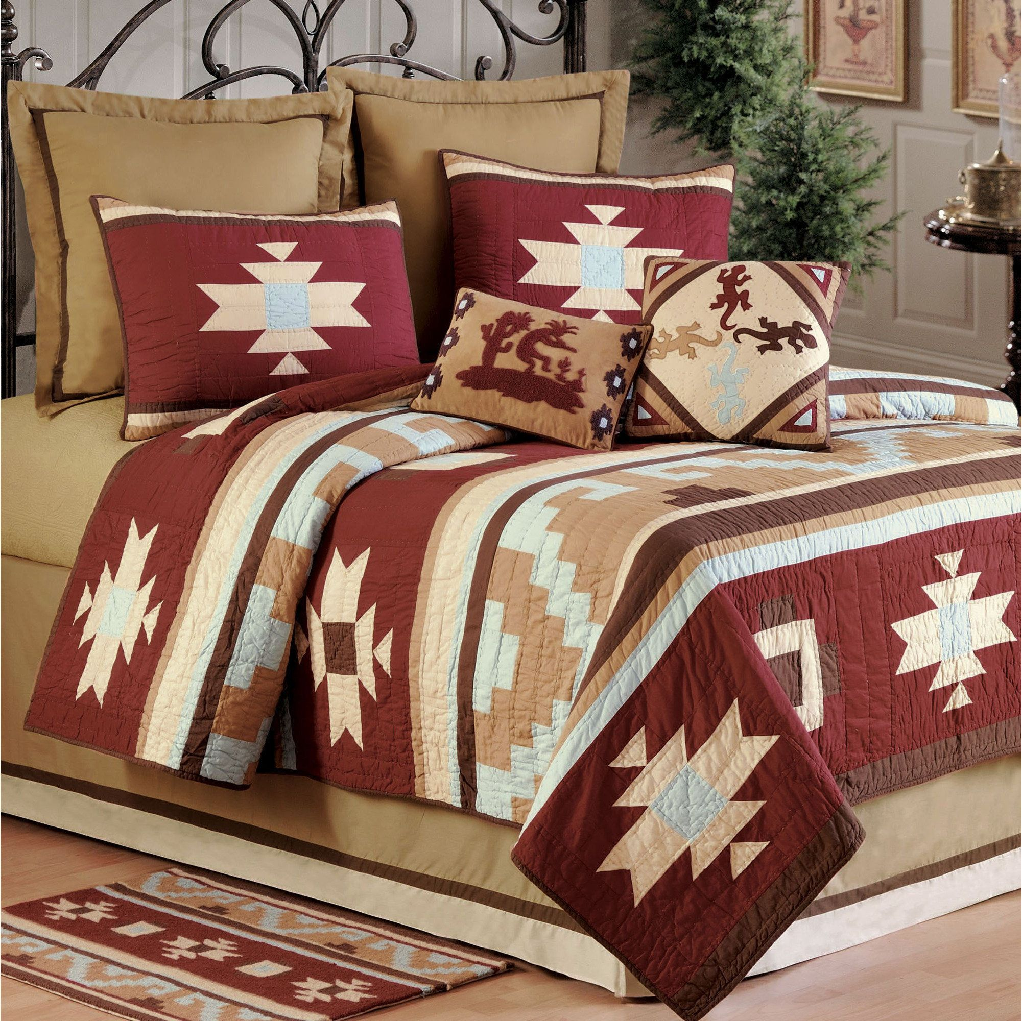 Canyon dance earth quilt rustic red quilt bedding bedspread and
