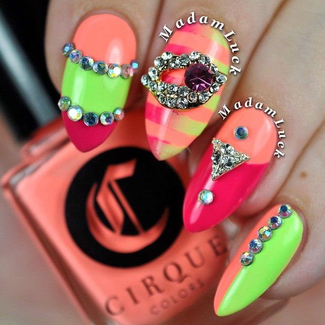 """""""Oh I'm loving these bright colors from @cirquecolors The Vice Collection! I used 3 polishes named Vitamin D( bright peach ), Nympho ( neon pink ) and…"""""""