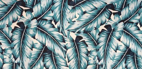 Light purple turquoise feathers leaves 100/% cotton fabric width 160cm