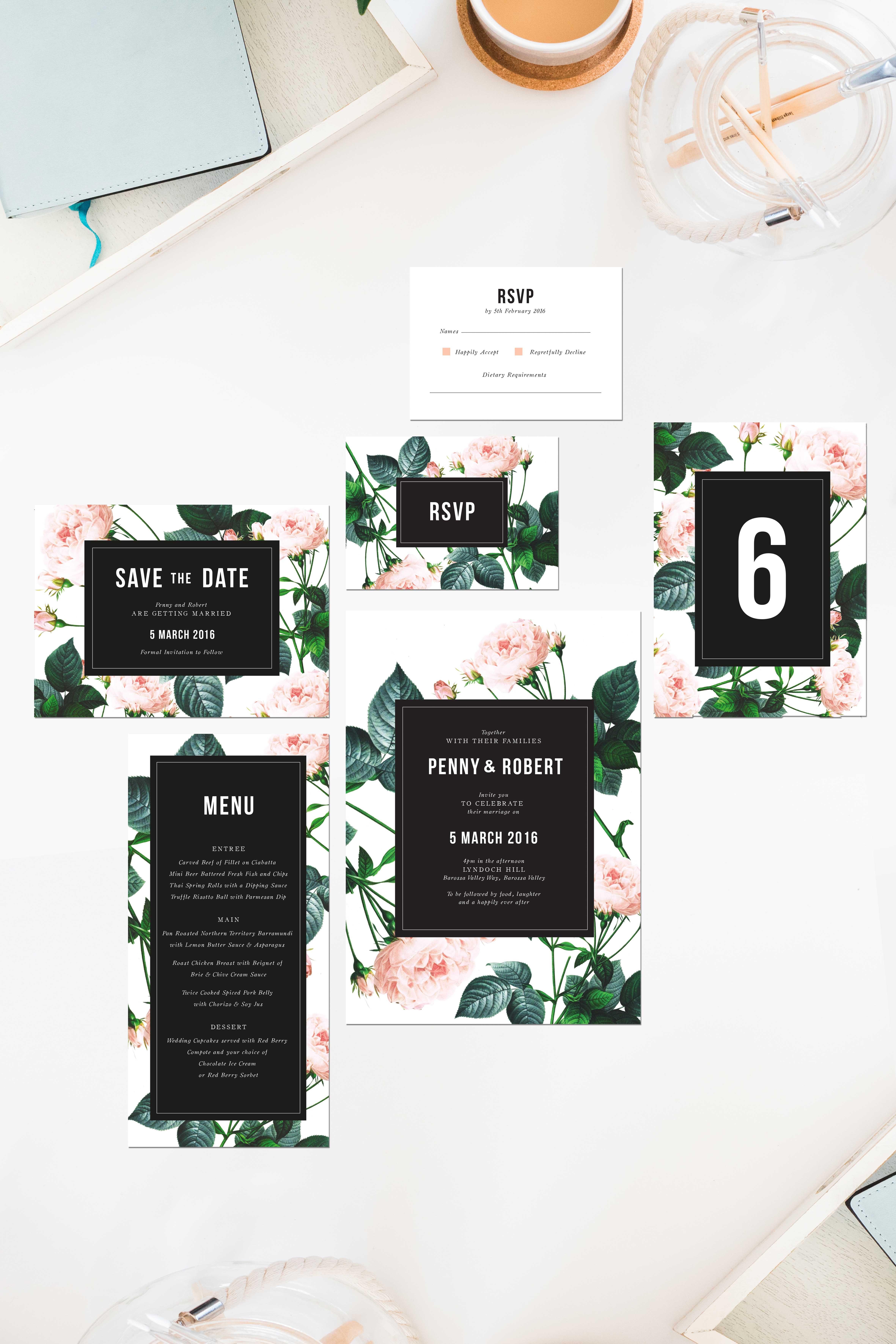 rose modern vintage wedding invitations save the dates roses pink ...
