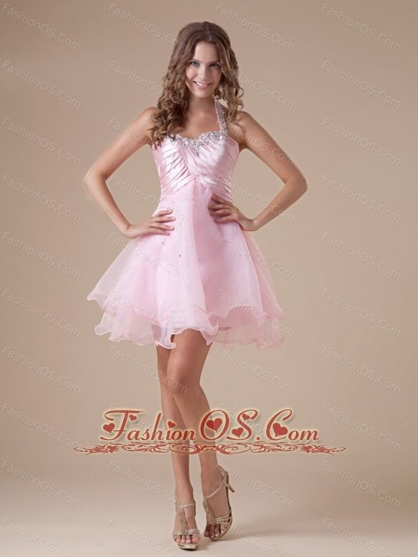 Custom Made Baby Pink Short Prom Dress With Halter Neckline Beaded ...