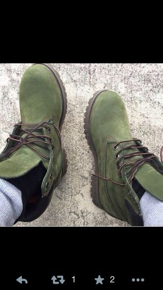 shoes timberlands boots army green
