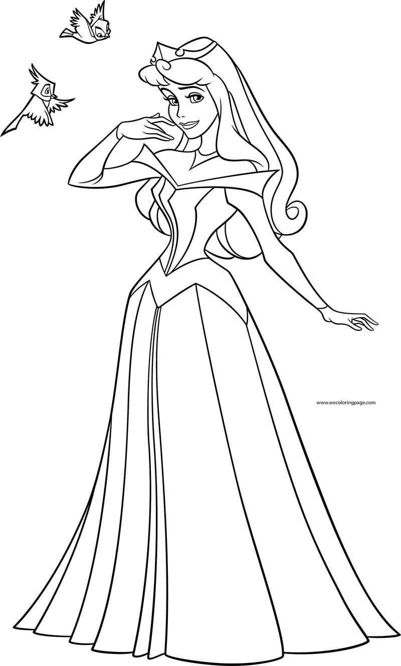 Disney Princess Aurora Pose Birds Coloring Page. Disney