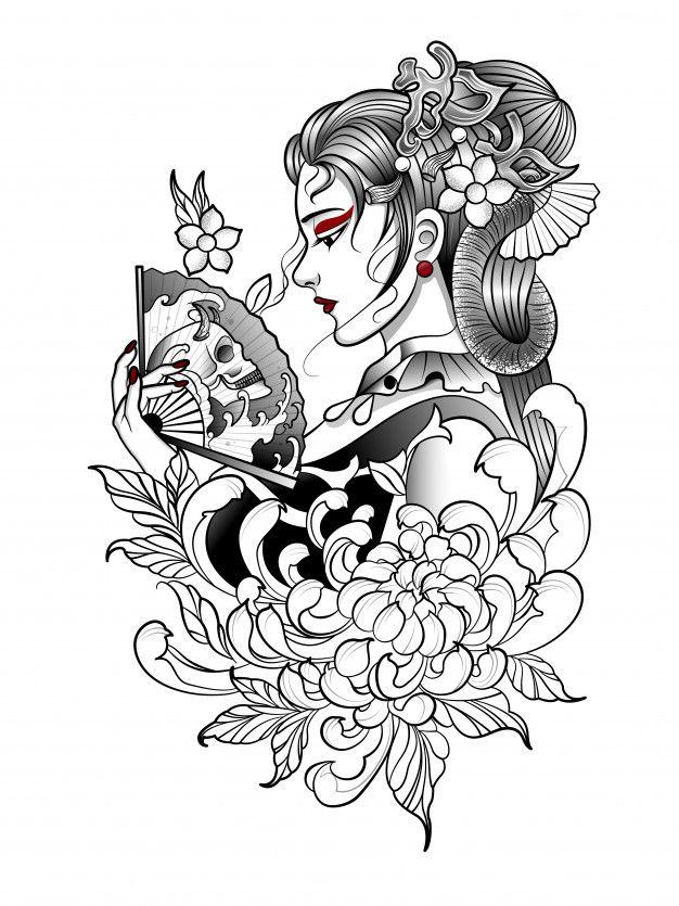 Freepik Graphic Resources For Everyone Geisha Tattoo Design Japanese Tattoo Geisha Tattoo