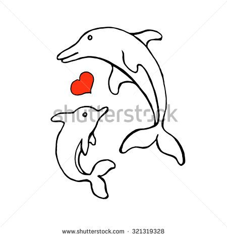 Dolphin Sketch For Swimming Pool Logo Design.Vector Illustration With Two  Dolphins And Heart.