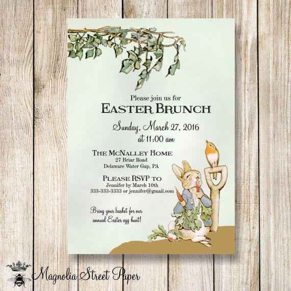 Peter Rabbit Easter Invitation, Printable Beatrix Potter Easter