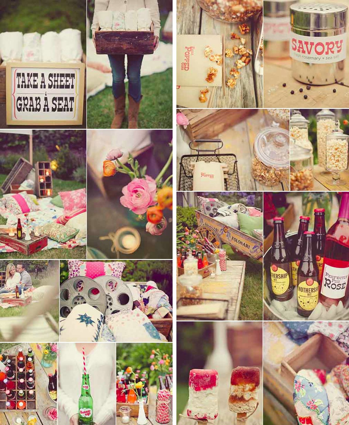 outdoor movie party wedding styling pinterest movie party