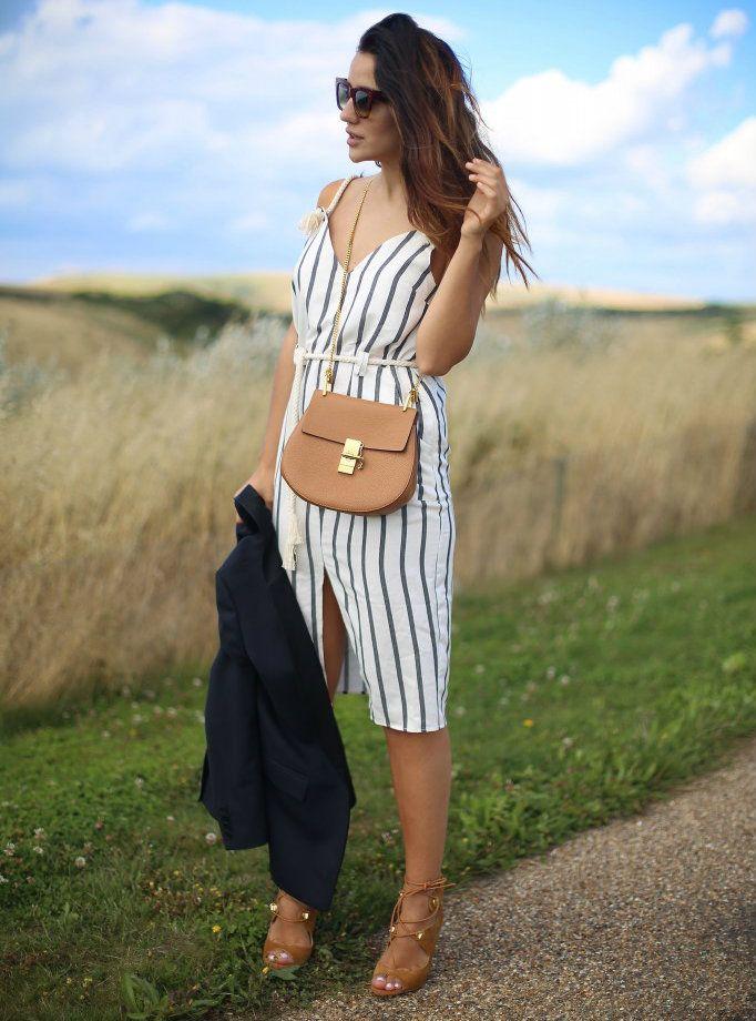 #chloè #maje #blazer #stripes #tan #summer #sun #fun #céline #heels #ootd #outfit #dress #sunglasses