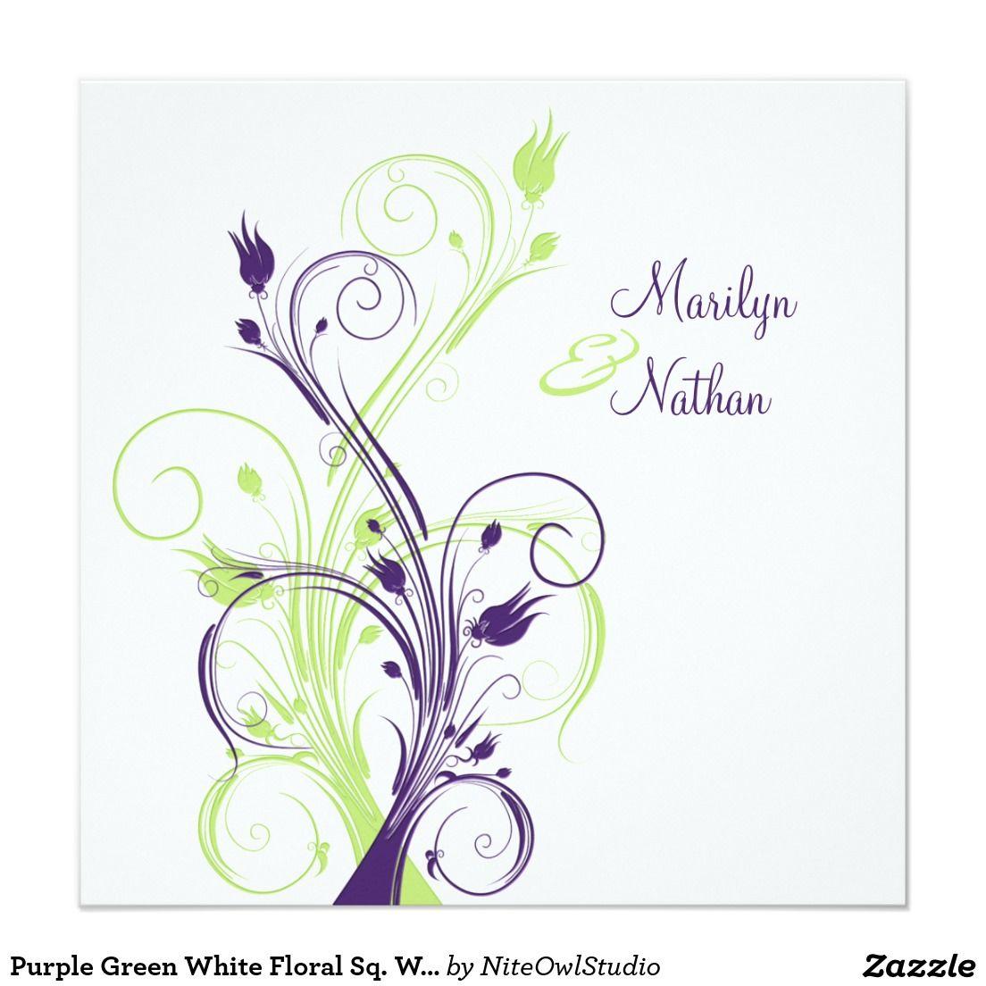 Purple Green White Floral Sq. Wedding Invitation | Weddings and ...