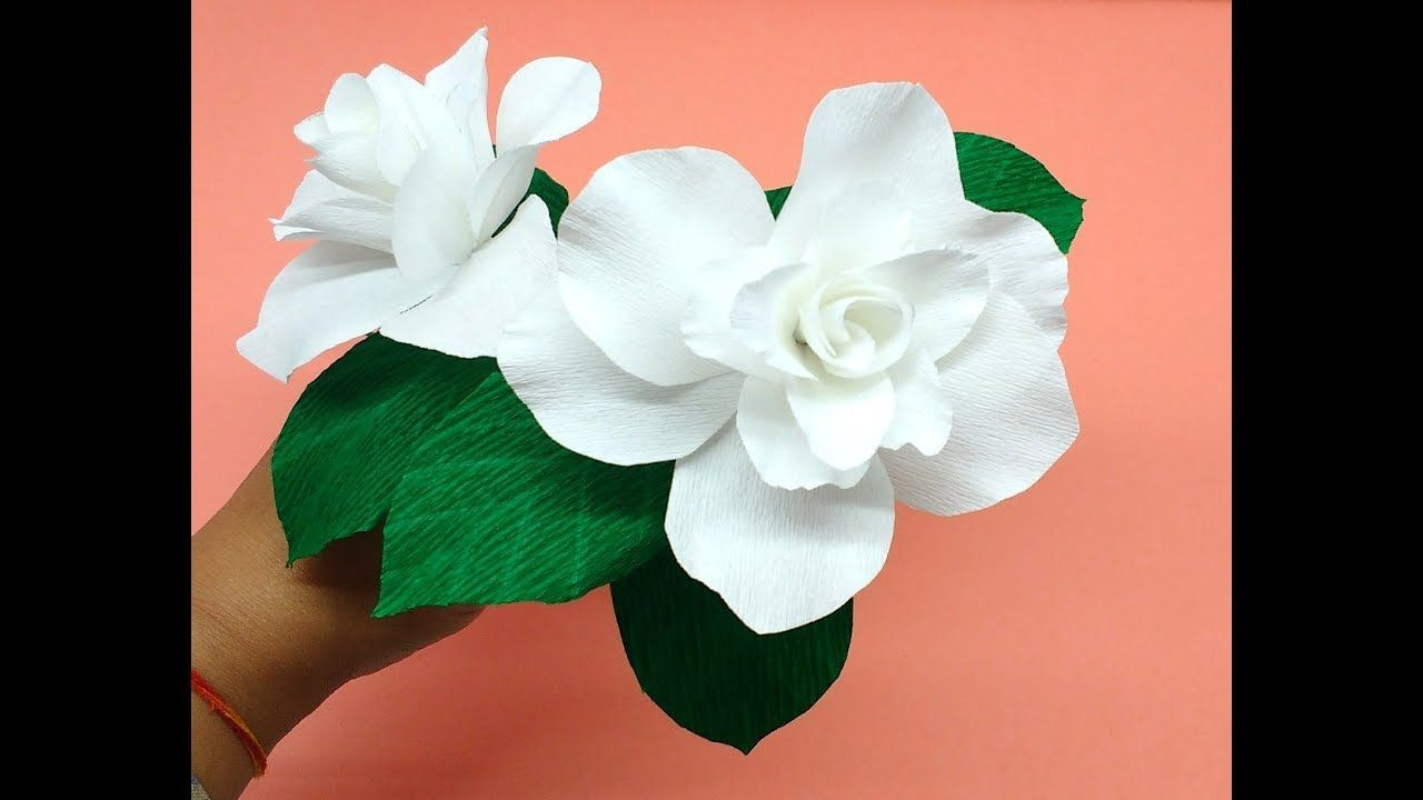 How To Make Crepe Paper Flowers Gardenia Flower 254 Youtube
