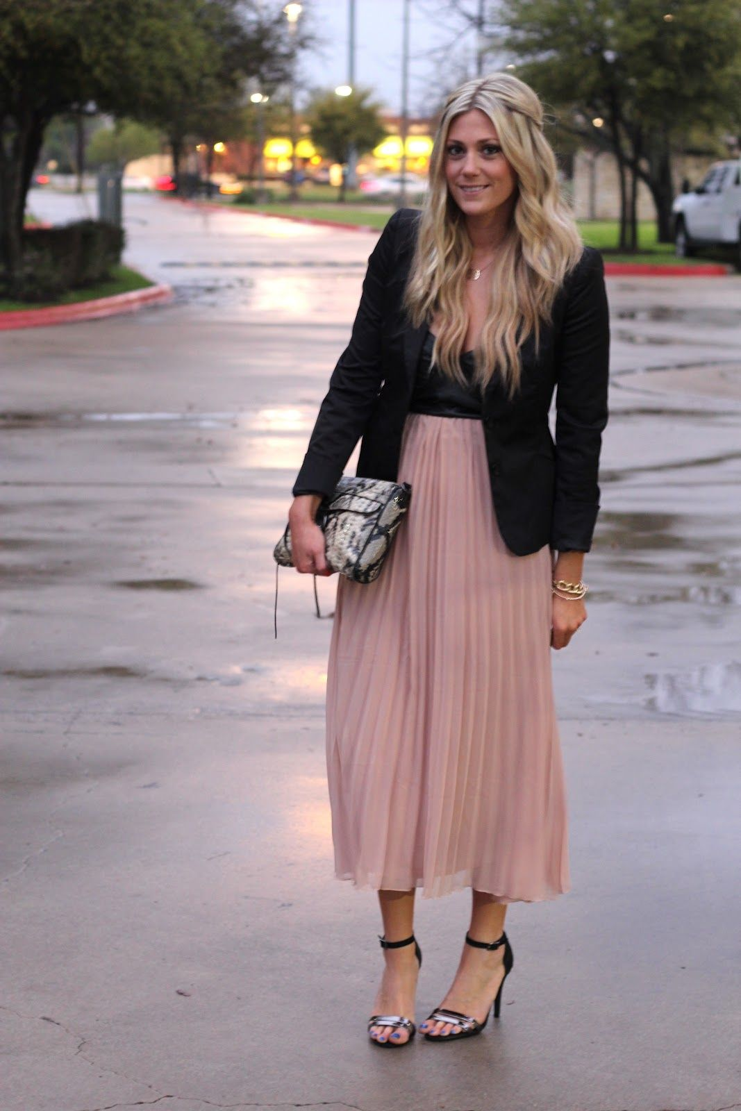 Blush Pleated Maxi Skirt, Black Blazer, Strappy Sandals. | Style ...