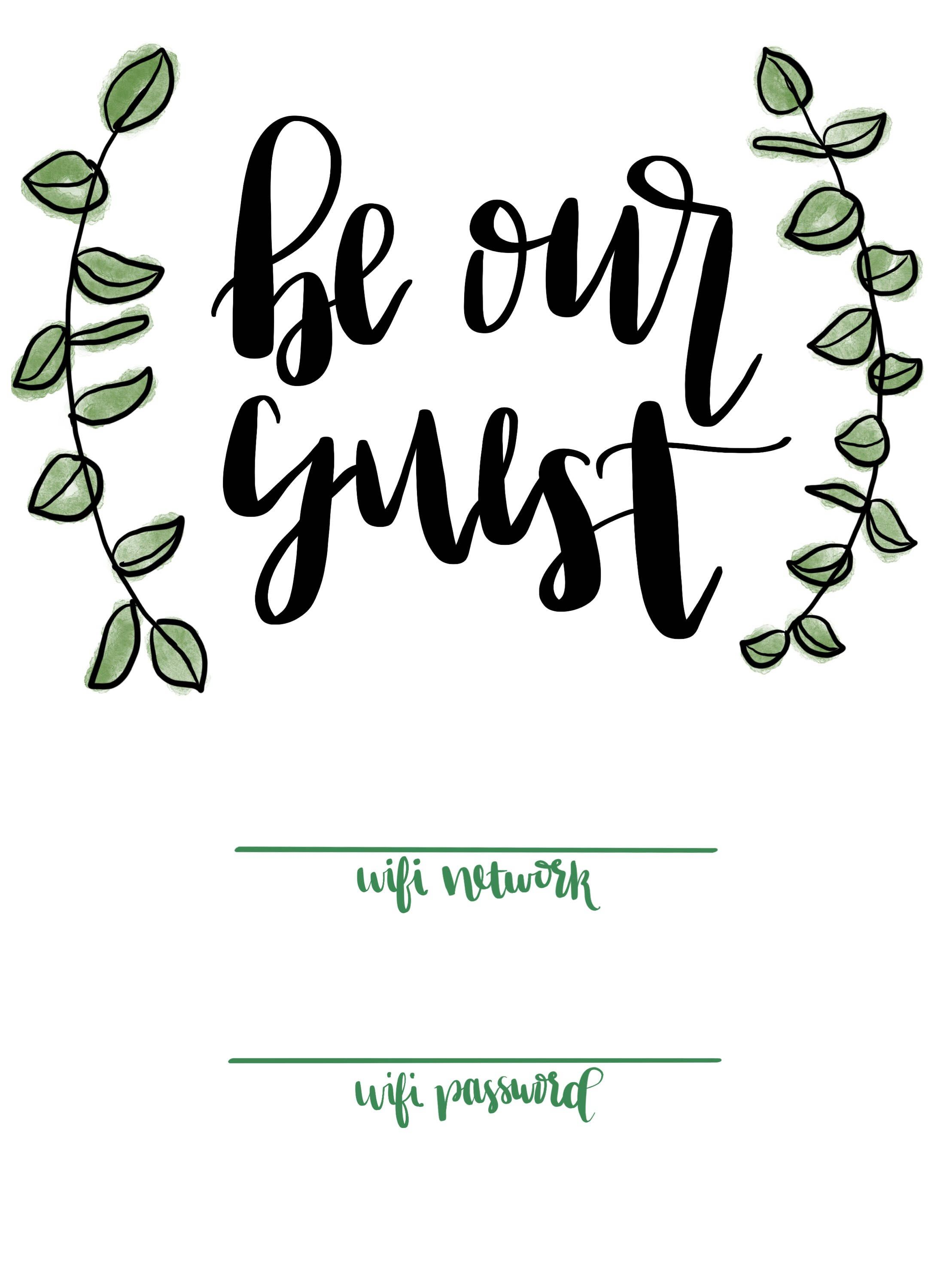 Wifi Sign Be Our Guest Floral Botanical Embellishments Watercolor Guest Room Sign Wifi Password Sign Wifi Sign Guest Room Sign Wifi Password Sign