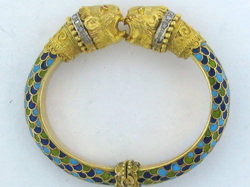 Vintage Zolotas 18k Gold Diamond Enamel Bangle Bracelet Jewelry Fine Jewelry Enamel Bangle