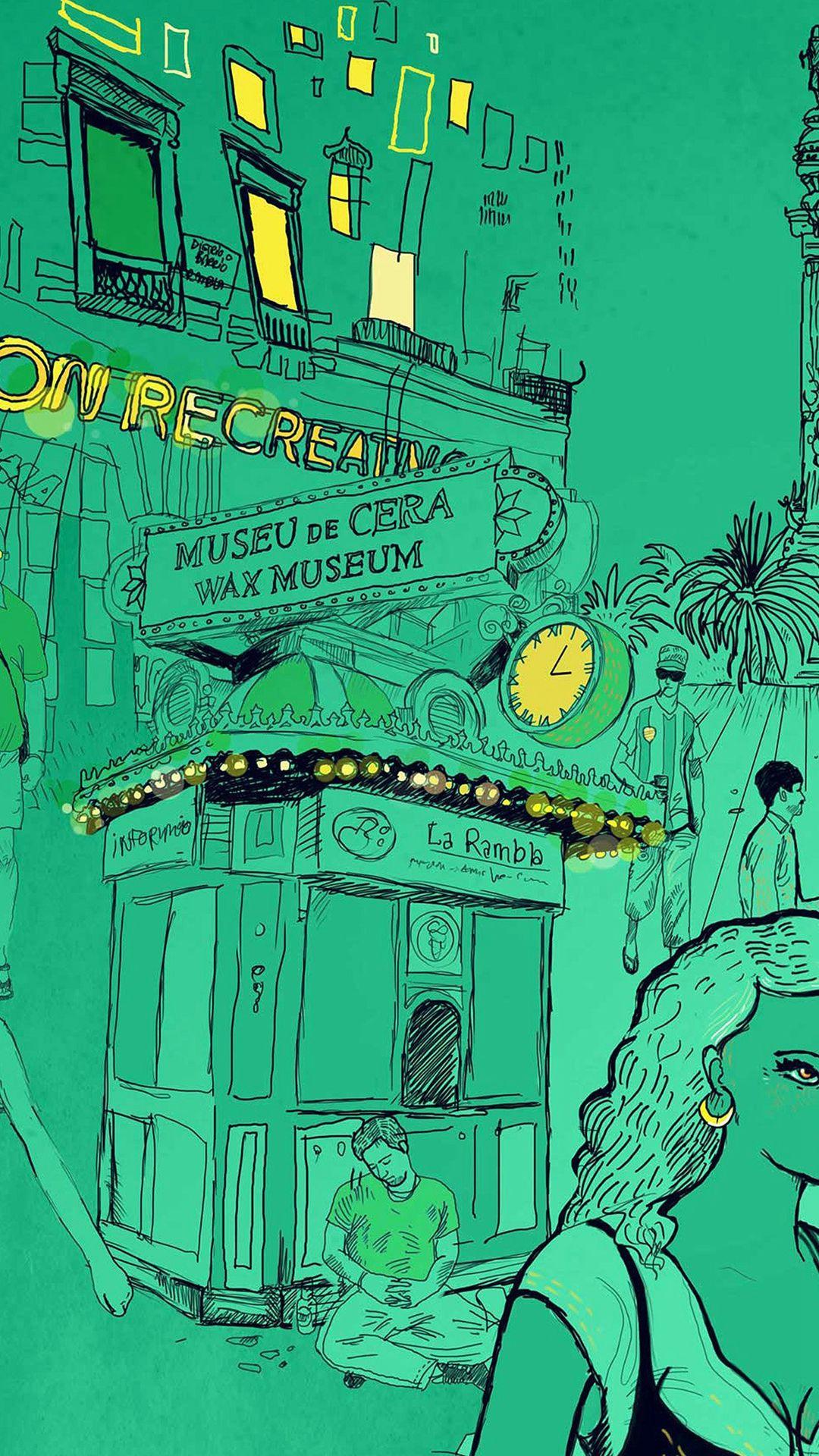 Wax Museum Art Illustration Green Street iPhone 6 plus