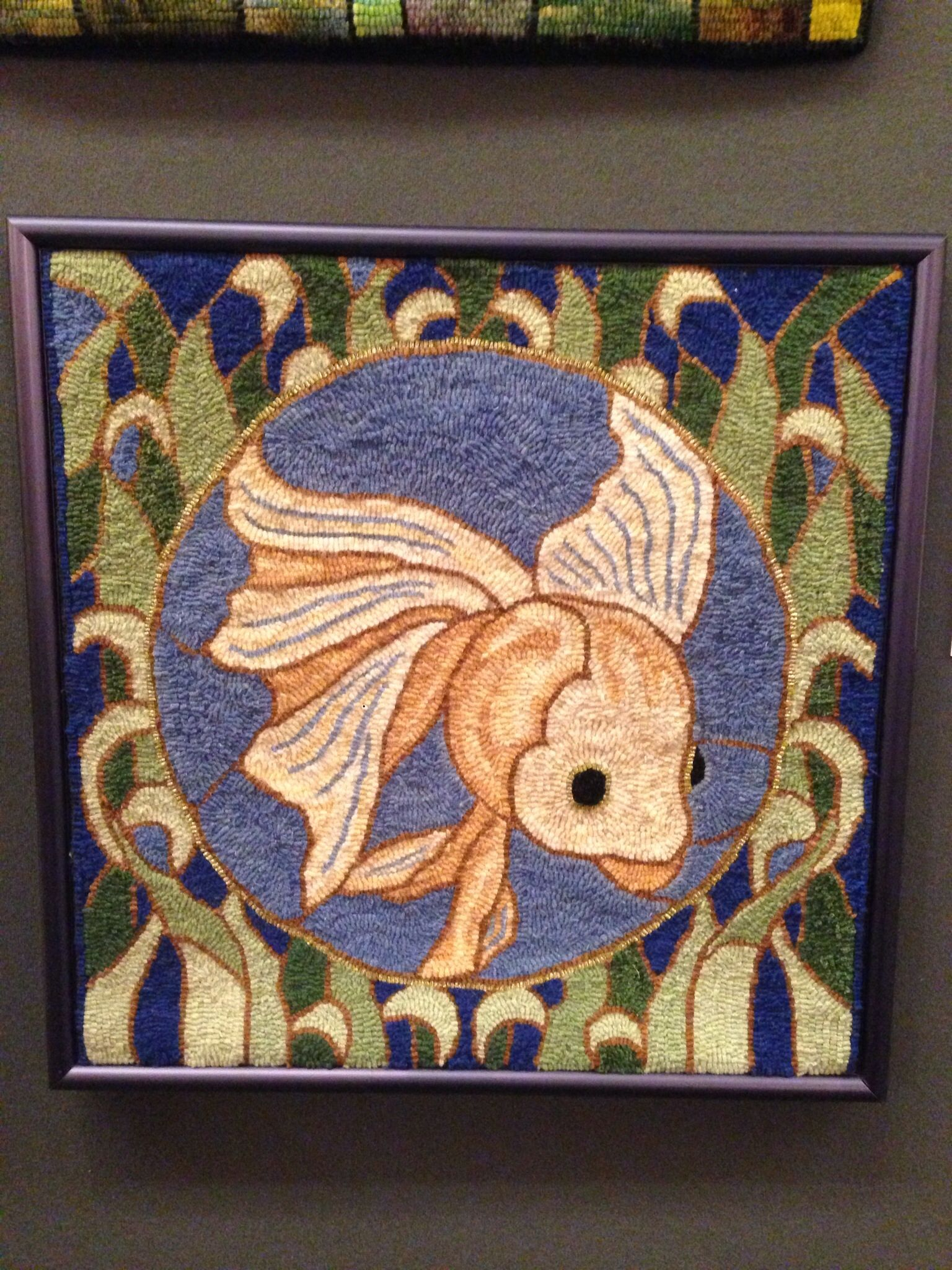 P836 Stained Glass Fish Rug Hooking Patterns Hooked Rugs Primitive Stitching Art