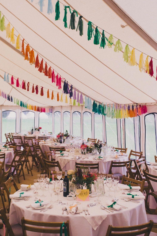 Wedding marquee decoration ideas  Rainbow Tassel Bunting  Laure De Sagazan Bridal Separates For A