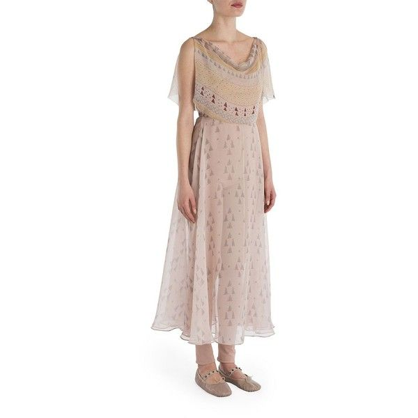 Valentino Flutter Sleeve Drape Front Printed Dress (6,828 CAD) ❤ liked on Polyvore featuring dresses, apparel & accessories, skin multi, flounce dress, brown sleeveless dress, sleeveless dress, frilly dresses and frill sleeve dress