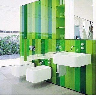 bonita combinacin de tonos verdes para el bao decoracion