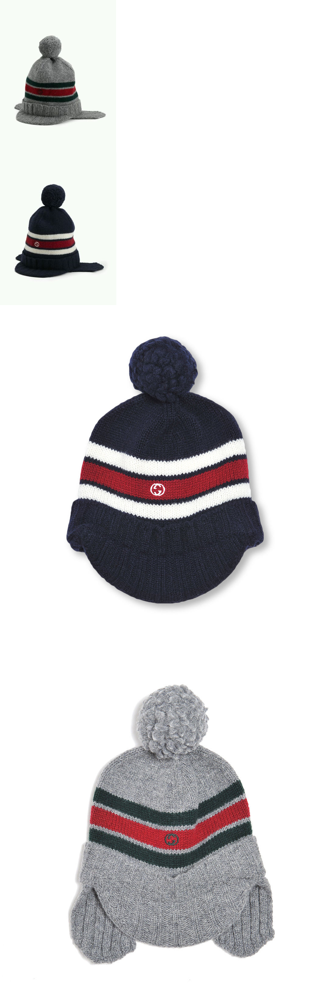 7a2a4ad6a060a Hats 57884  Nwt New Gucci Kids Boys Navy Or Gray Wool Knit Hat Ear Flaps  Red Web S 269511 -  BUY IT NOW ONLY   99 on eBay!