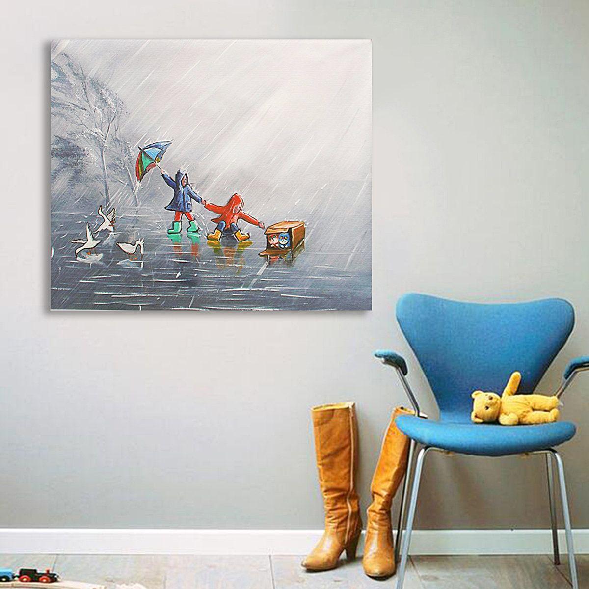 Modern abstract canvas painting frameless wall art kids bedroom