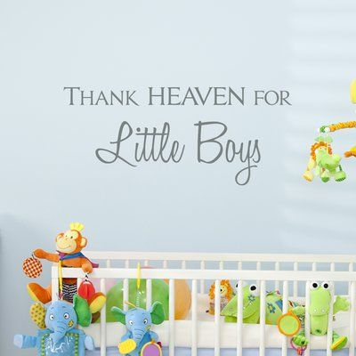 Wallums Wall Decor Thank Heaven for Little Boys Quote Wall Decal #littleboyquotes