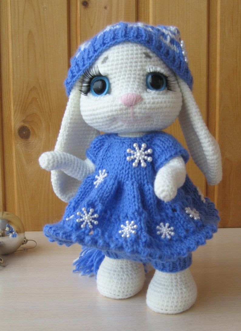 PATTERN: Bunny in Blue crochet and knitting pattern