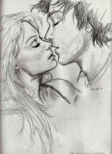 Kiss sketch of boy and girl by zizing blogspot com