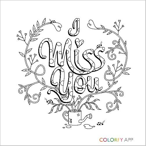 I Miss You Colorfy Adult Coloring Pages Pinterest Adult Coloring I You Coloring Pages