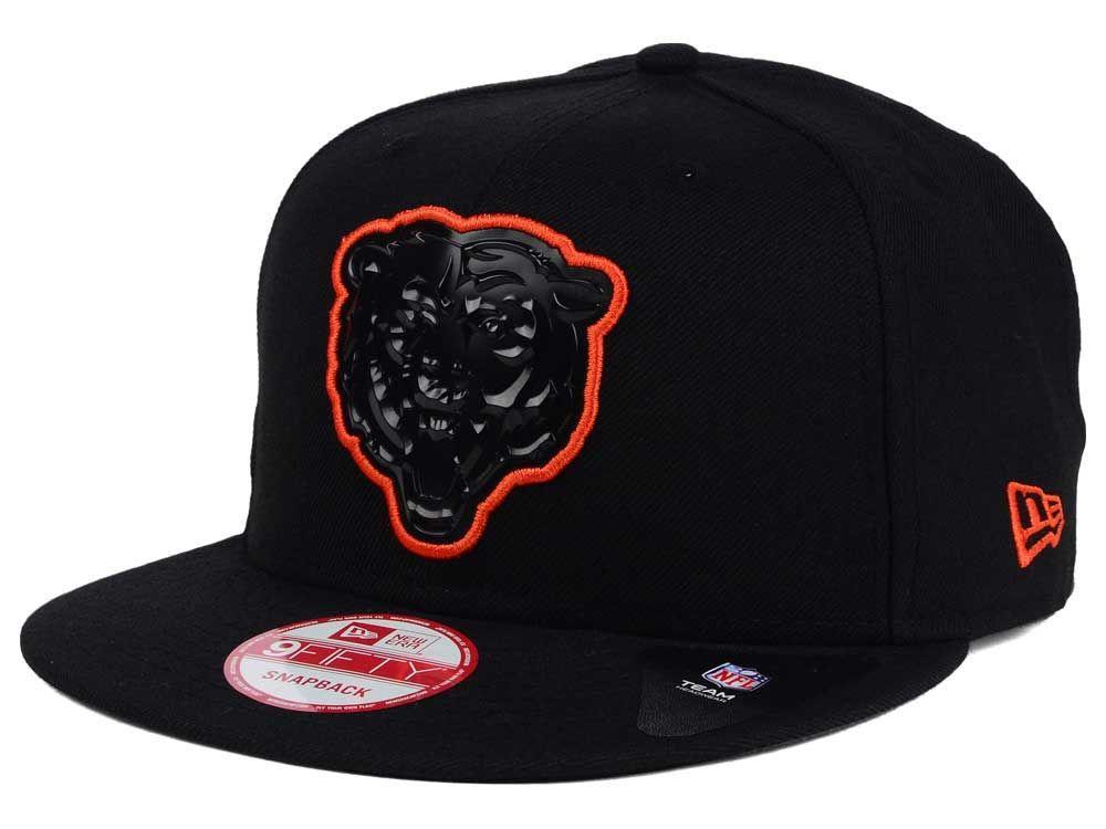 Chicago bears new era nfl black bevel 9fifty snapback cap