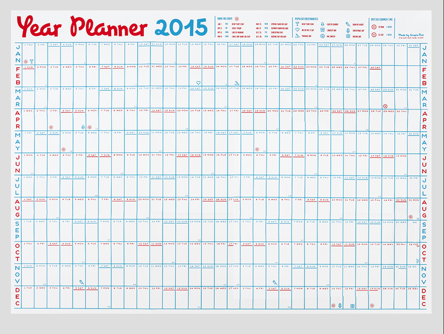 2015 wall planner. | printables | Pinterest | Wall planner ...