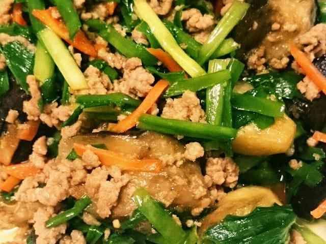 なす豚ひき肉ニラ簡単旨辛炒め☆夏の常備菜の画像