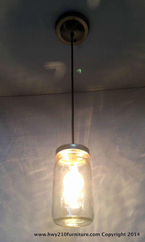 Mason jar pendant light antique bronze steel canopy kitchen